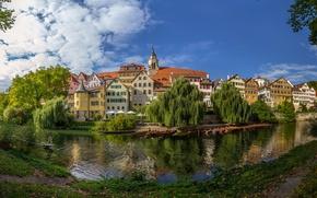 Wallpaper river, building, Germany, panorama, promenade, Germany, Baden-Württemberg, Baden-Württemberg, Tübingen, Tübingen, Neckar River, the Neckar river