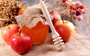 Picture apples, honey, Bank