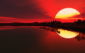 Picture the sun, reflection, Sunset