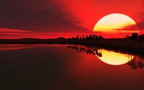 Wallpaper the sun, reflection, Sunset