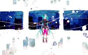 Picture girl, abstraction, the city, anime, headphones, art, vocaloid, hatsune miku, vient