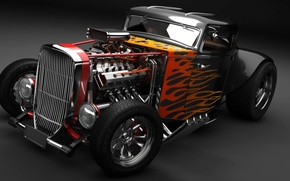 Picture engine, fire, flame, Hot Rod, classic car