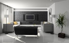 Picture room, Wallpaper, interior, sofas