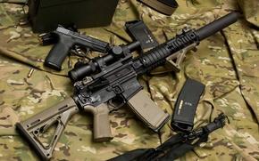 Picture gun, weapons, machine, optics, camouflage, rifle, muffler, assault, Larue Tactical, semi-automatic