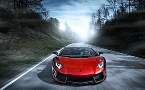 Picture road, red, speed, Lamborghini, red, Blik, Lamborghini, LP700-4, Aventador, Lamborghini, aventador, Mansory, LB834
