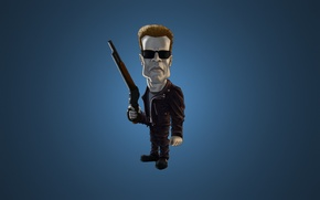 Wallpaper minimalism, the dark background, weapons, Arnold Schwarzenegger, Arnold Schwarzenegger, The Terminator, glasses, Terminator, blue