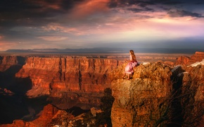 Picture girl, view, height, dress, canyon, TJ Drysdale