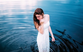 Picture water, girl, dress