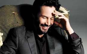 Picture happiness, smile, actor, grey background, Keanu Reeves, Keanu Reeves