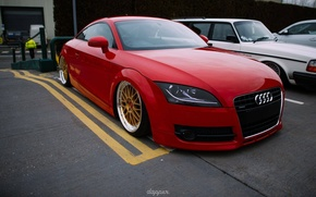 Picture audi, red, quattro, tuning, bbs, germany, low, stance