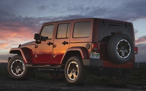 Picture Sunset, The sky, Wheel, Machine, Jeep, Jeep, Unlimited, Wranger, Altitude
