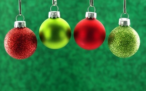 Wallpaper winter, balls, background, toys, New Year, green, Christmas, red, the scenery, Christmas, holidays, New Year, ...
