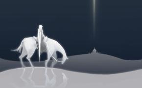 Picture white, desert, horse, Rider