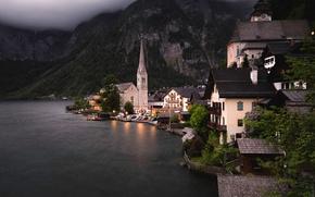 Wallpaper mountains, Austria, home, trees, shore, lights, lake, the evening, twilight, Hallstatt, rocks, forest