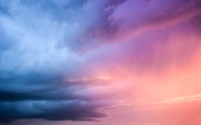 Picture the storm, purple, the sky, light, sunset, blue, clouds, color