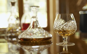 Picture reflection, table, blur, whiskey, glass, decanter, whisky