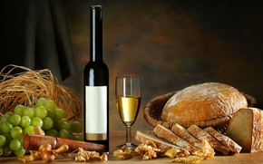 Picture leaves, wine, glass, bottle, bread, grapes, straw