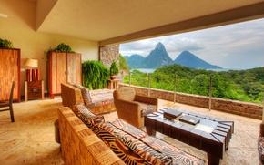 Picture interier, Caribbean, Saint Lucia, Jade Mountain hotel