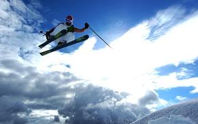 Picture the sun, snow, jump, ski