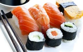 Picture sticks, Japan, Japan, figure, slices, sushi, rolls, shrimp, seafood, Japanese cuisine, salmon, japan food, Susi, …