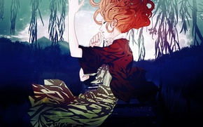 Picture trees, lake, the reeds, sleep, red, Amnesia, Heroine, amnesia