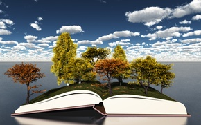 Picture autumn, the sky, clouds, trees, foliage, open book
