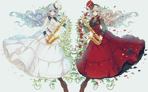 Picture flowers, girls, roses, hat, anime, petals, art, saxophone, miemia