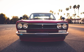 Picture red car, headlights, tuned car, Nissan Skyline KGC10 GT-X, rearview