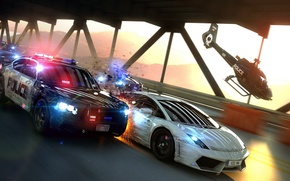 Picture Lamborghini, Helicopter, Sparks, Chase, Gallardo, Police, Supercar, Helicopter, Pursuit, Supercar, Police, LP560-4, Sparks