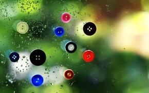Wallpaper glass, drops, rain, window, buttons