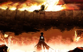 Picture the city, wall, fire, anime, art, shingeki no kyojin, eren jaeger, the invasion of the …