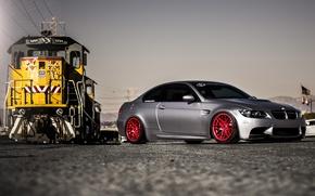 Picture bmw, BMW, train, silver, red, drives, train, e92, silvery