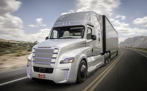 Picture road, future, movement, desert, speed, track, Truck, Freightliner, Daimler, Inspiration