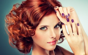 Picture portrait, very beautiful, hands, makeup, red hair, girl, hairstyle