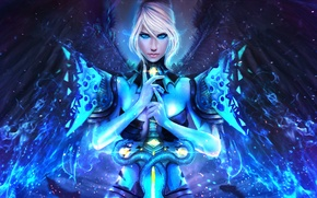 Picture look, wings, magic, GW2, Dragonhunter, art, Guild Wars, the handle, girl, sword, beauty