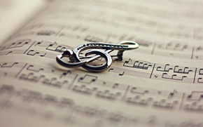 Wallpaper notes, key, book, violin