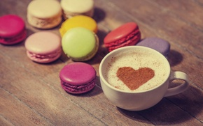 Picture love, heart, coffee, milk, cookies, Cup, sweets, love, dessert, heart, food, cocoa, coffee, cream, dessert, …