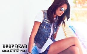 Picture girl, glasses, drop dead