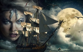 Picture sea, face, fog, the ocean, the moon, seagulls, sailboat, art, dolphins