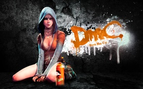 Picture girl, game, graffiti, art, background, DmC, Devil May Cry, Kat