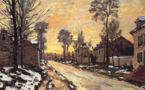 Wallpaper picture, the urban landscape, Claude Monet, Road at Louveciennes. Melting Snow. Sunset