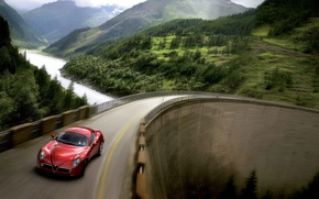 Wallpaper machine, bridge, cars, alfa romeo, auto, Alfa Romeo