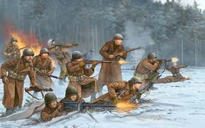 Picture art, soldiers, Belgium, USA, game, the, Division, Flames of War, WW2., air, 1944, world war …