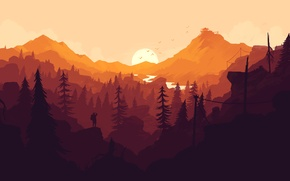 Picture forest, the sun, sunset, orange, the game, people, color, minimalism, Firewatch