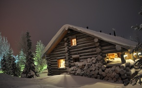 Wallpaper snow, night, house, Winter, ate, the snow, wood, tree, cottage, log