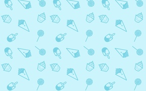 Wallpaper Minimalism, Blue, Candy, Sweets, Texture, Ice cream, Lollipop, Ice Cream, Seamless, Snacks, Cupcakes