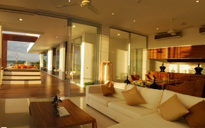 Picture design, house, style, Villa, interior, pool, terrace, living space