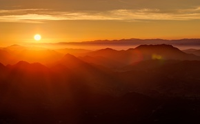 Picture rays, mountains, dawn, sunlight, solace