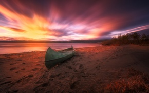 Picture beach, sunset, Norway, canoe