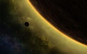 Picture planet, stars, nebula